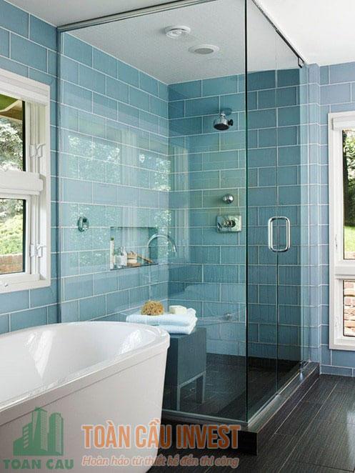 Vách tắm kính vuông góc 90 độ