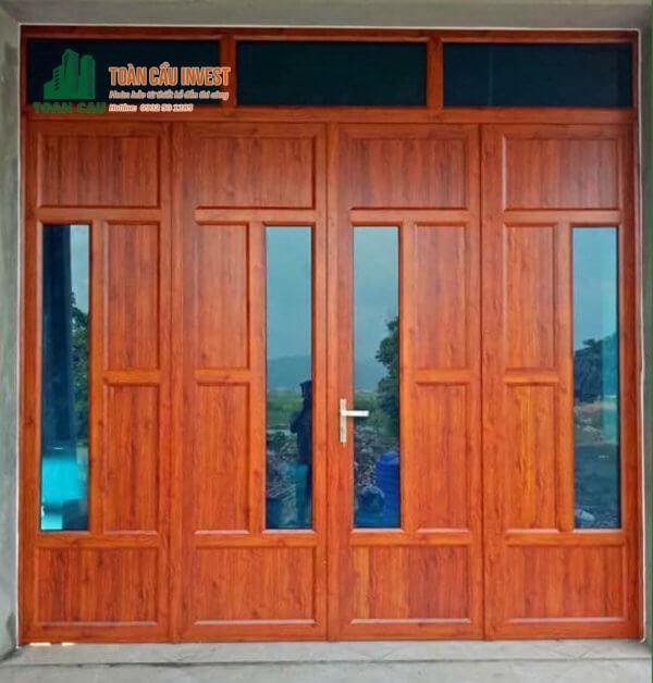 Mẫu cửa nhôm kính Xingfa phong cách cửa gỗ truyền thống