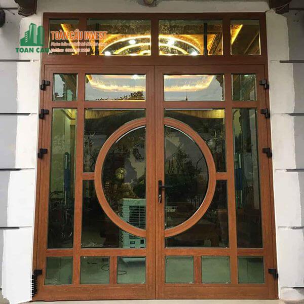 Mẫu cửa nhôm giả gỗ Xingfa 2 cánh đẹp