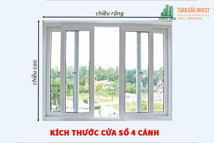 Chọn kích thước cửa sổ 4 cánh chuẩn đẹp theo phong thủy