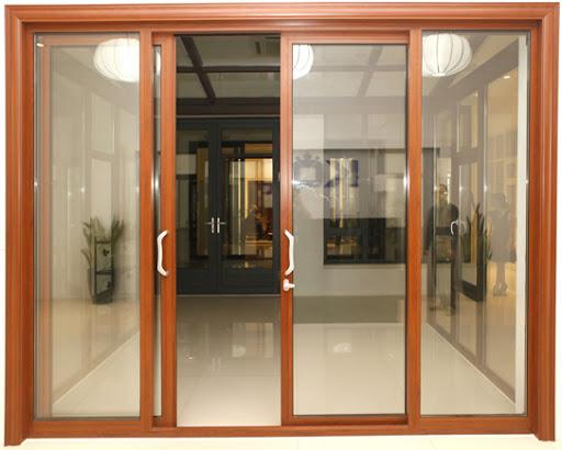 Mẫu cửa nhôm 4 cánh giả gỗ