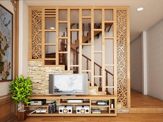 Mẫu vách cầu thang gỗ giật cấp